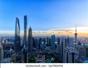 Shanghai, China - Feb 10, 2020: Shanghai cityscapes at dusk and night, modern city skyline in Shanghai, China
