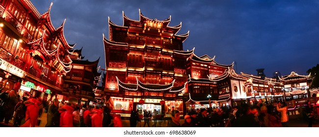 SHANGHAI, CHINA - FEB 17 2009: Panoramic view of the City Temple of Shanghai at night. This is a famous tourists attraction of Shanghai.