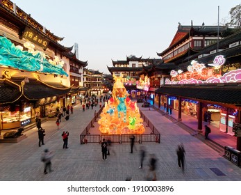 Shanghai, China - Feb. 2, 2021: Lantern Festival in the Chinese New Year( the year of ox), high angle view of colorful lanterns in Yuyuan garden at evening.
