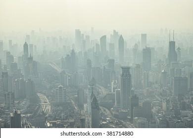 Shanghai, China - Feb. 24, 2016: aerial view of fog city.