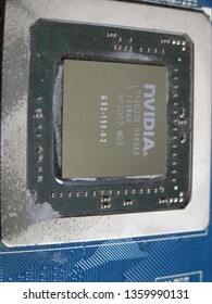 Shanghai, China - February 22, 2014: An nVIDIA G92 core (GPU), which was previousely installed on a GeForce 8800GS graphic card, was exposed. G92 family was one of longest served chips used by nVidia.