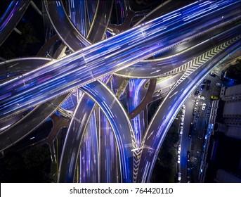 ShangHai China Freeway Long Exposure Traffic