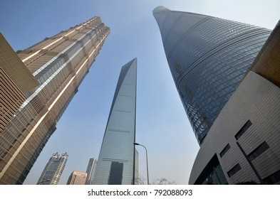 SHANGHAI, CHINA- JAN 08, 2018: Jin Mao Tower, Shanghai tower, Shanghai World Financial Center located in Pudong, Shanghai.