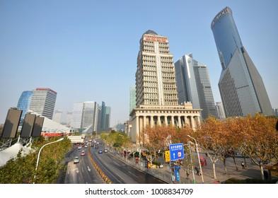 SHANGHAI, CHINA- JAN 20, 2018: Modern high-rise buildings dot the Shanghai city skyline