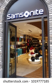 SHANGHAI, CHINA- JAN 20, 2018: Samsonite store in Shanghai, China. Samsonite International S.A. is an American luggage manufacturer and retailer