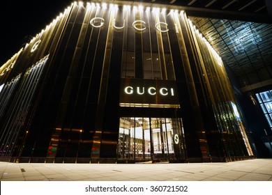 SHANGHAI, CHINA - JAN,9, 2016: Gucci store. Gucci is an Italian fashion and leather goods brand was founded by Guccio Gucci in Florence in 1921. Gucci has about 425 stores worldwide.
