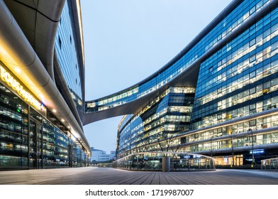SHANGHAI, CHINA - January 20, 2018 : Soho Hongqiao building in Shanghai. Modern futuristic architecture office building designed by Zaha Hadid.