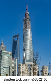 SHANGHAI, CHINA - JANUARY 24, 2014: View at skyscrapers in Lujiazui district in Shanghai. Currently, there are more than 30 buildings over 25 stories high with commerce as their leading function.