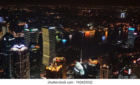 Shanghai, CHINA - JANUARY 5, 2014 : Night view from Jin Mao Observatory 88