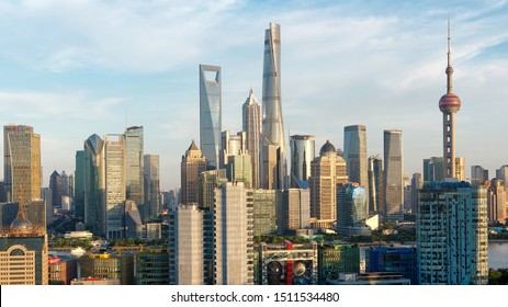 Shanghai, China - July 15, 2018: modern skyscrapers, Shanghai tower, jin mao tower, oriental pearl TV tower and shanghai world financial center, landmarks in lujiazui with blue sky background.
