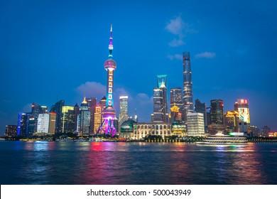 Shanghai, China - July 20th. 2016 - Colorful Shanghai skyline at Shanghai downtown, night shot, China, Asia.