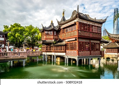 Shanghai, China - July 20th 2016 - Yu Garden tourist attraction in central Shanghai, blue sky day, Shanghai, China