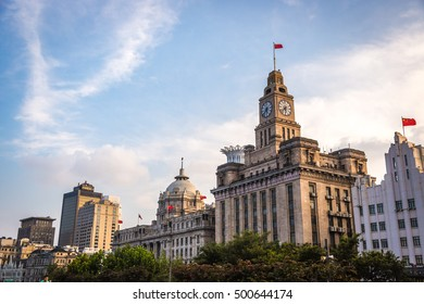 Shanghai, China - July 21st. 2016 - Details of the architecture of downtown Shanghai in China, Asia.