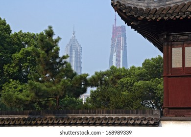 Shanghai, China - July 24, 2007: A view of Jin Mao tower and Shanghai World Financial Center (in construction) from Yuyuan gardens on July 24, 2007.
