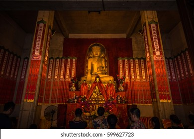 Shanghai, China - July 27, 2014: Shrine in Jing'an temple in Shanghai