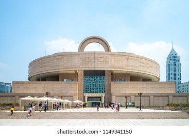 Shanghai, China - July 27, 2018: facade view of shanghai museum in shanghai, china
