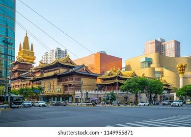 Shanghai, China - July 29, 2018: jingan temple, a Buddhist temple in Shanghai,