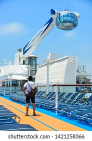 Shanghai, China - Jun 3, 2019. The NorthStar observation tower at the newest Royal Caribbean Cruise Ship Spectrum of the Seas.