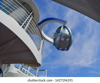 Shanghai, China - Jun 4, 2019. The NorthStar observation tower at the newest Royal Caribbean Cruise Ship Spectrum of the Seas.