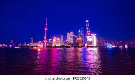 Shanghai, China - June 1, 2018: Night view of Shanghai Bund, China