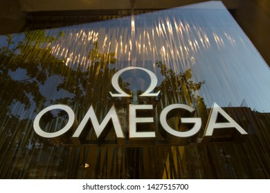 Shanghai, China - June 14, 2019: The OMEGA logo at an OMEGA store on East Nanjing Road in Shanghai's old downtown district.