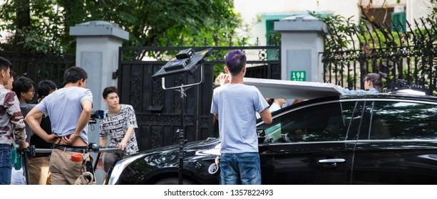 Shanghai, China, China, June 23, 2018: A group of camera crews filmed microfilms on Shanghai Hengshan Road