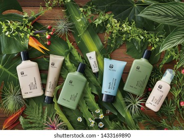 shanghai, china- june 25,2019: chinese nuskin  Epoch products: blemish treatment, shampoo, foot cream, conditioner, glacial marine mud, baby hair and body wash