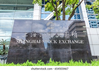 SHANGHAI CHINA - June 3, 2017: Shanghai Stock Exchange. At the financial district in Pudong, Shanghai, China.Shanghai Stock Exchange one of the two stock exchanges operating independently in China.