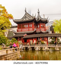 SHANGHAI, CHINA - MAR 31, 2016: Yu or Yuyuan Garden (Garden of Happiness), an extensive Chinese garden located  Old City of Shanghai, China