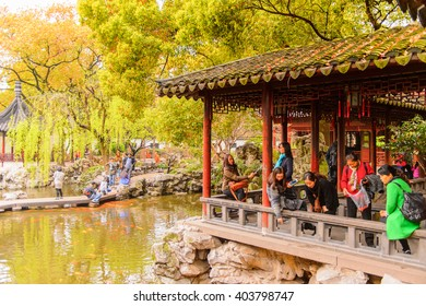 SHANGHAI, CHINA - MAR 31, 2016: Nature of the Yu or Yuyuan Garden (Garden of Happiness), an extensive Chinese garden located  Old City of Shanghai, China