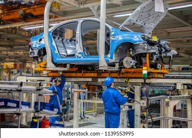 Shanghai, China, China - March 1, 2016: In Shanghai Volkswagen's car factory, new cars are being produced on the assembly line.