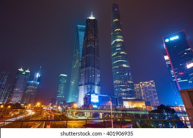 Shanghai, China - March 12, 2016: Shanghai skyline at night