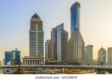Shanghai, China, March 2016: Pudong, Lujiazui is the economic center of Shanghai.