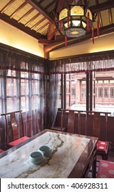 SHANGHAI, CHINA - MARCH 28, 2016: The inside of the famous tea house in Yu yuan garden in Shanghai, China.