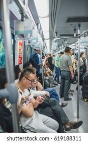 SHANGHAI, CHINA - MAY 05, 2016: Full metro train in Changhai, China