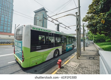 SHANGHAI, CHINA - MAY 05, 2016: Electric powered hybrid bus charging