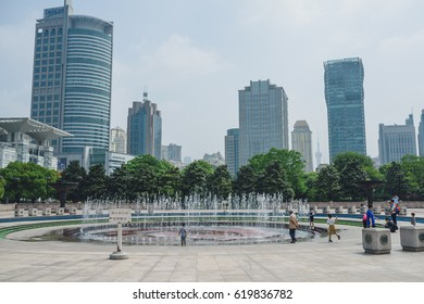 SHANGHAI, CHINA - MAY 05, 2016:  Fountain near Shanghai Museum - People's Square. Shanghai is the largest city by population in China