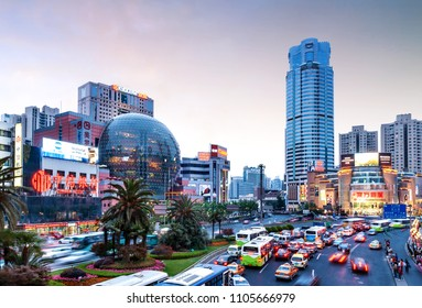 Shanghai, China - MAY 15, 2012:  Xujiahui in Shanghai. Xujiahui was established in May 1994 as a subdistrict of Xuhui District and is nowadays welknown for its electronics shopping malls