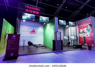 Shanghai, China, China, May 2, 2019: The public relations company has put a lot of technology in the new product fair of Adidas, many fans come to visit