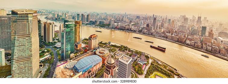 SHANGHAI, CHINA - MAY 24, 2015: Skyscrapers, waterfront and city building of Pudong, Shanghai, China.