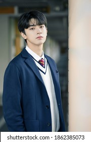 shanghai, china- May 25, 2020: Chinese actor Lin yi wears high school uniform posing in campus