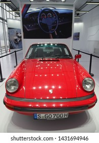 Shanghai, China - May 26 2019: Front view of a shiny red G series Porsche 911Targa on display at the Shanghai Super Classic car show in Shanghai