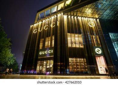 SHANGHAI, CHINA - MAY,28,2016: Gucci store in shanghai. Gucci is an Italian fashion and leather goods brand was founded by Guccio Gucci in Florence in 1921. Gucci has about 425 stores worldwide.