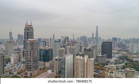 SHANGHAI, CHINA - Nov 1: Aerial View of Huangpu district, Shanghai on a cloudy day, on 1 Nov 2017 in Huangpu district, Shanghai, China.