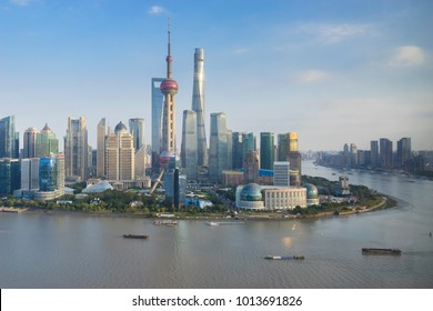 Shanghai, China - Nov 12, 2017: View of Lujiazui area of Shanghai in late afternoon. It is the finanical district of Shanghai, with offices of many domestic and overseas corporations.