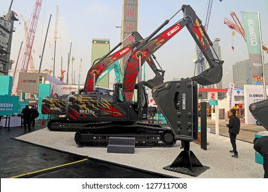 Shanghai, China - Nov 28, 2018: Excavators Kobelco SK260 LC and  SK210 LC at bauma China 2018, Shanghai
