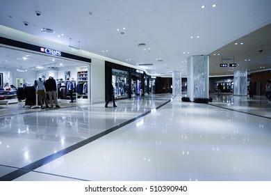 SHANGHAI, CHINA - Nov.5. 2016. Luxury shopping mall interior. Multi luxury brand inside.