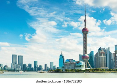 Shanghai - China - November 1 ,2018:Shanghai The Bund , located on the Bank of the Huangpu River in the Central District of Shanghai, It is a scenic spot in Shanghai.