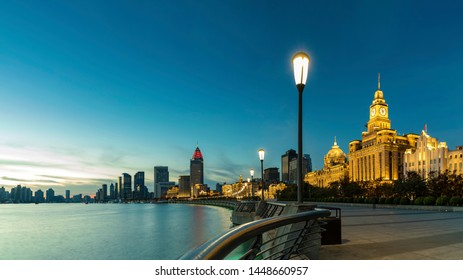 Shanghai - China - November 1 ,2018:Shanghai The Bund , located on the Bank of the Huangpu River in the Central District of Shanghai, It's a trade center and a financial center.