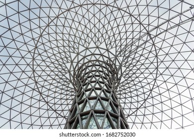 SHANGHAI, CHINA - NOVEMBER 10, 2018. New Shopping Mall LuOne. Double Curve Glass Steel Structure. Funnel or Flower Shape Dome. Parametric Design of Skylight.